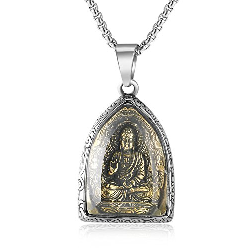 JAJAFOOK Retro Tibetan Buddhism Buddha Pendant Amulet Necklace for Men Women, 24' Chain
