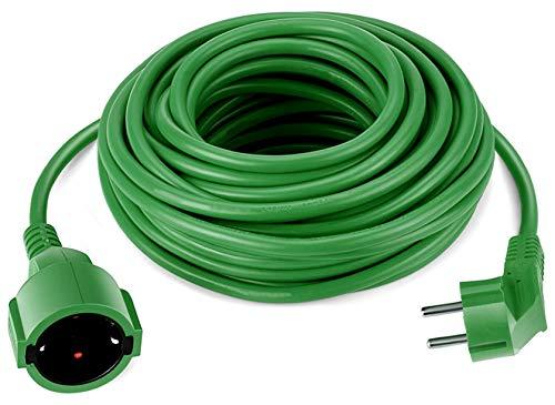 Cable alargador Schuko de 10 metros, verde, cable de alimentación IP44 hasta 3500 W, para el jardín, también se puede utilizar en el exterior