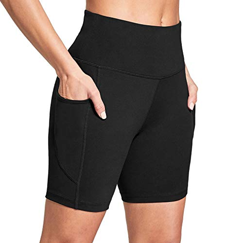 "BALEAF Women's 6"" High Waisted Biker Shorts Ultra Soft Workout Yoga Running Athletic Shorts with Pockets Black M"
