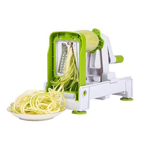 FEE-ZC Safety Blade Spiralizer, stärkster pflanzlicher Spiralschneider, Faltbarer Spiralschneider Veggie Pasta Spaghetti für kohlenhydratarme Multifunktion, grün
