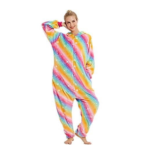 WEIYIing Adulto Animal Pijamas Dibujos Animados de una Pieza Pijamas Mujeres otoño e Invierno Espesado Coral Flannel Pijamas Manga Larga Unisex rol Jugando-L (Altura 168-178cm)