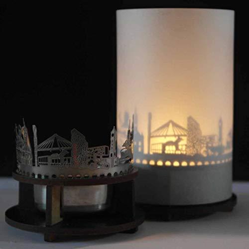 Ludwigshafen-Skyline Windlicht Schattenspiel Premium Geschenk-Box Souvenir, inkl. Kerzenhalter, Kerze, Projektionsschirm & Teelicht