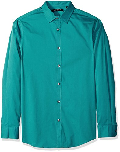 AXIST Men's Long Sleeve Slim Stretch Twill, Blue Coral, X-Large