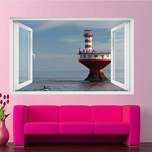 Sea Scenery Lighthouse Dolphin Wandaufkleber Transfer Art Wandtattoo Poster 70x110cm