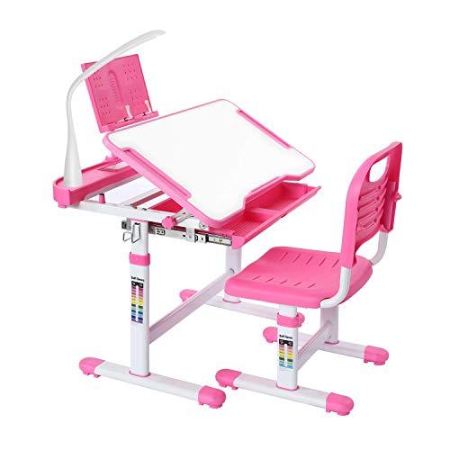 キッズデスクと椅子セット 高さ調節可能 子供勉強テーブル LEDライト付き ブックスタンド 木製傾斜 反射防止 天板 ポータブル傾斜 0-60° 卓上 学校 3
