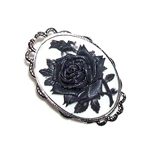 BLACK ROSE Max 65% OFF CAMEO BROOCH PIN We OFFer at cheap prices Silver Pltd Crow Raven
