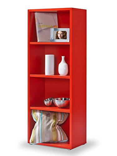 Regal rot, Click System: Keine Schrauben und Dübel, Bücherregal rot, 3 EB