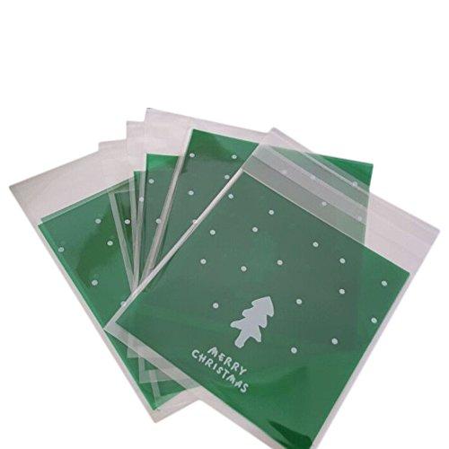 Mackur Weihnachten Transparent Verpackungs Beutel für Schokolade/Cookie/Keks Weihnachtsbaum Muster Selbstklebend Tüten Kunststoff Süßigkeiten TascheZubehör von Bäckerei oder Dessert 100 Stück (Grün)