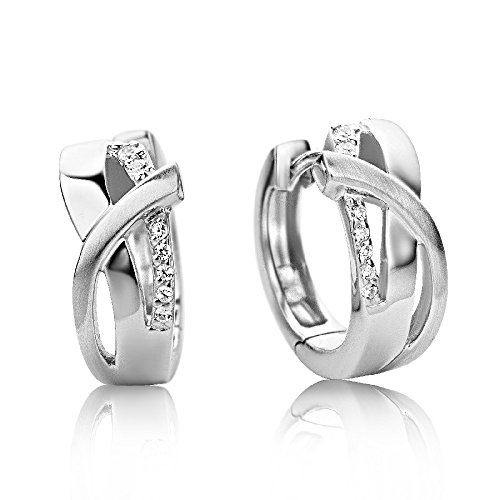 Miore Damen Creolen – Formvollendete Ring-Ohrringe aus 925 Sterling Silber mit 14 farblosen Zirkonia-Steinen – Ohrschmuck 6,5 x 16 mm