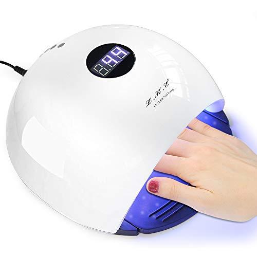 Nagellampe, 72 W, UV-LED-Nageltrockner, schmerzfreie Aushärtungslampe mit automatischem Sensor, LED-Display, 4 Timer-Einstellungen für Finger- und Zehennagel-Gel-Nagellack