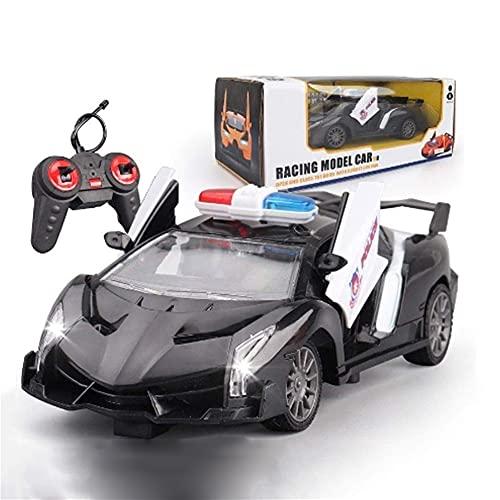 WANIYA1 Niños juguete control remoto policía coche coche carreras coche inalámbrico rc coche de alta velocidad policía con luces y sirena deriva todoterreno vehículo de carretera para niños para niños
