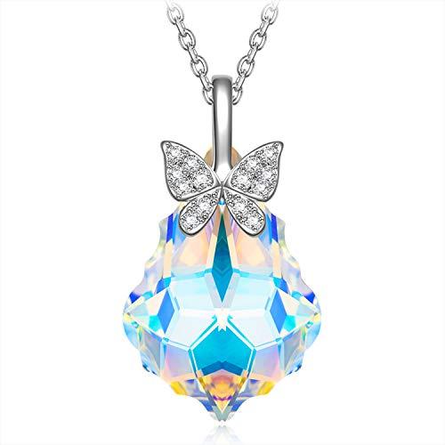 Alex Perry Muttertagsgeschenk Damen Halskette 925 Sterling Silber Kette Schmetterling Anhänger mit Swarovski Kristall Schmuck Modeschmuck Geschenk Geburtstagsgeschenk Für Sie Frauen Einstellbar