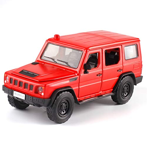 JBlaite-Model car Maßstab 1: 32 Gegoßenes Auto-Modell-Simulation Legierung Auto-Modell-SUV-Auto-Modell Static Auto-Modell mit Ton und Licht-Funktion (Color : Red, Size : 14.5cm*5.5cm*6.2cm)