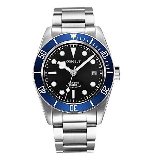 Reloj automático para hombre, de acero inoxidable, analógico, con fecha, movimiento japonés, cristal de zafiro, luminoso