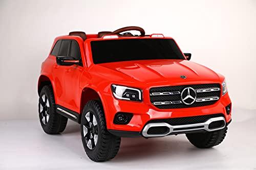 ES-TOYS Coche eléctrico para niños, Mercedes GLB Concept, con licencia, batería de 12 V 7 Ah, 2 motores, 2,4 GHz, Bluetooth, asiento de piel, EVA, color rojo