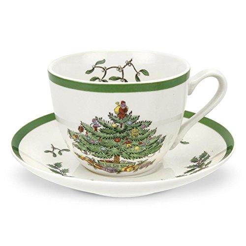 Spode-Tee-Tasse und Untertasse, Keramik, Mehrfarbig, 4Stück