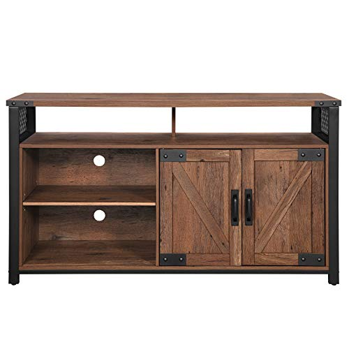 VASAGLE TV Stand for 55-Inch TV with Barn Doors, Entertainment Center and TV Console, TV Cabinet with Adjustable Storage Shelves, Industrial Design, Hazelnut Brown and Black ULTV047G01