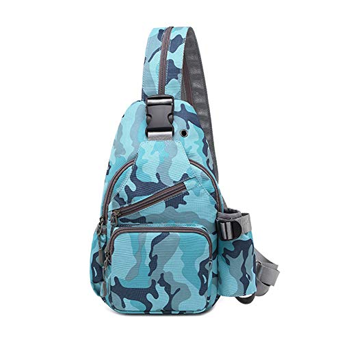 Printing Fashion Oxford Chest Bag Men and Women Shoulder Bag Messenger Bag Small Backpack for Outdoor Cycling, Hiking, Climbing and Travel,Blue