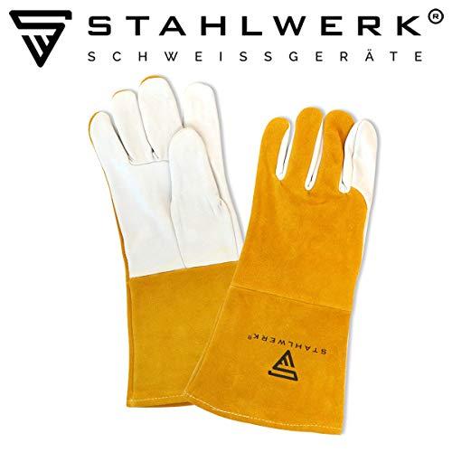 STAHLWERK Schweißerhandschuhe Schutzkleidung Echtleder für WIG/TIG/MIG/MAG/MMA/Plasma, hitze und feuerbeständig, weiß-gelb