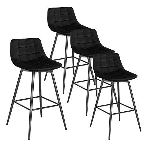 WOLTU 4er Set Barhocker Barstuhl Hocker Tresenhocker Bistrohocker Design Stuhl Samt Metall Schwarz BH143sz-4