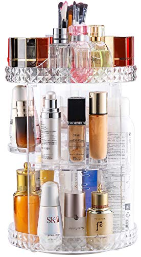 V-HANVER Acrylic Makeup Organizer, Cosmetic Storage and Vanity Perfume Organizers in Countertop Bathroom Dresser, 360 Rotating Makeup Holder Stand for Beauty Caddy Skincare & Clear & Diamond Pattern