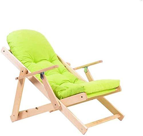 Sieste - Silla reclinable plegable de madera maciza con tejido reclinable simple, silla para balcón, silla de paseo (color: C)