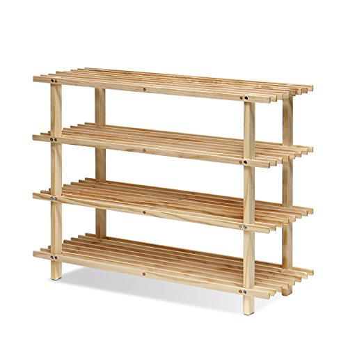 Furinno  Pine Solid Wood 4-Tier Shoe Rack, Natural