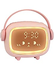 ZKIAH Despertador Digital Infantil, Relojes Despertador con Luz de Noche para Niños y Niñas, Silenciosa Cabecera Lindo Emoji Despertador Infantil (Rosa)