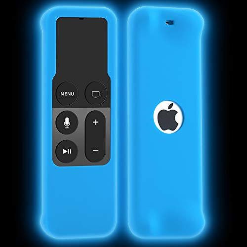 ahiw Remote Case for Apple TV 4K/4th Generation, Silicone Remote Cover Sleeve Lightweight [Anti Slip] Shock Proof Skin Protective Case for Apple TV 4K Siri Remote Controller-Blue Glow in The Dark