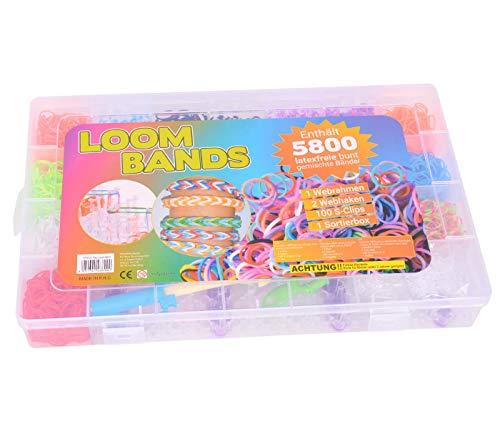 Alsino Kit Completo | 5800 Loom Bands | 1 Telaio | 2 Uncini | Gancetti a S | Ciondoli | Elastici di Gomma per Fare Braccialetti | Gioco Creativo per Bambini