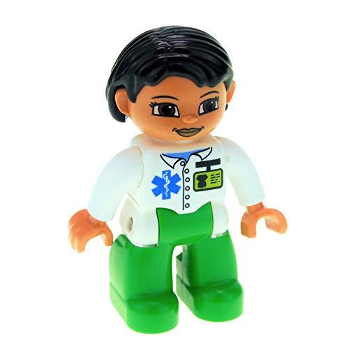 1 x Lego Duplo Figur Frau Mutter Hose grün Jacke weiss Haare schwarz Arzt Ärztin Krankenhaus Doktor für Puppenhaus 47394pb137