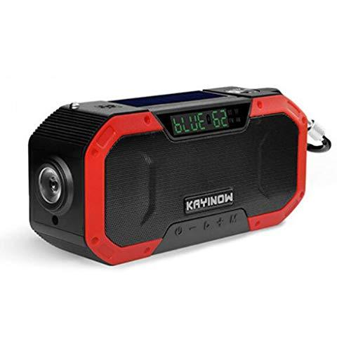 Altavoz Bluetooth portátil Impermeable Multifuncional IPX6, Radio generador Solar inalámbrico con Linterna LED, Cargador de teléfono móvil con manivela Am FM-5000mAh, Alarma SOS, brújula (Color : 3)