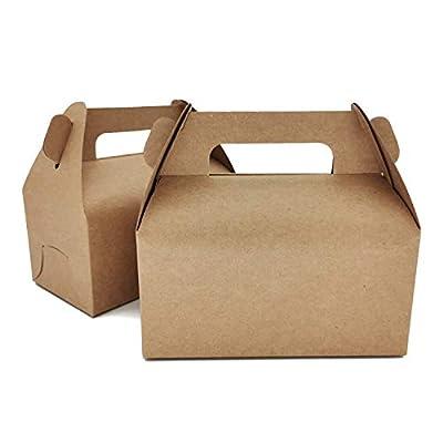 LASOA Gable Gift Boxes Kraft Cookie Boxes Brown...