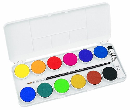 Grumbacher Transparent Watercolor Set, 12 Colors & Brush