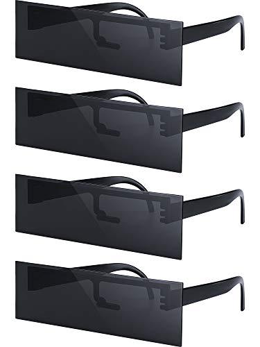 Frienda 4 Pares Gafas de Sol de Bar de Censurar Anteojos Gafas de Sol de Censura de Internet Gafas de Sol Espaciales Niños