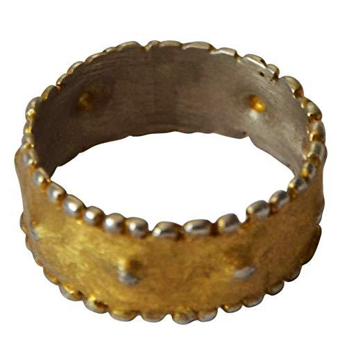 Damen Herren Ring Silberringe Fingerringe Bandring aus 925 Sterlingsilber vergoldet gold silber Punkte ungleichmäßig antik 8mm Ringgrößen 50 bis 60