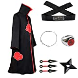 TOJONOZO nisex Akatsuki Long Robe Naruto Halloween Costume Uniform Cloak Headband Plastic Props (Large, Group 1)