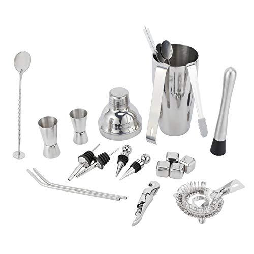 Velaurs Bartender Tool, Bartender Tools, 22Pcs / Set Bar Bartender Accessory 750ml Silver para Home Bar