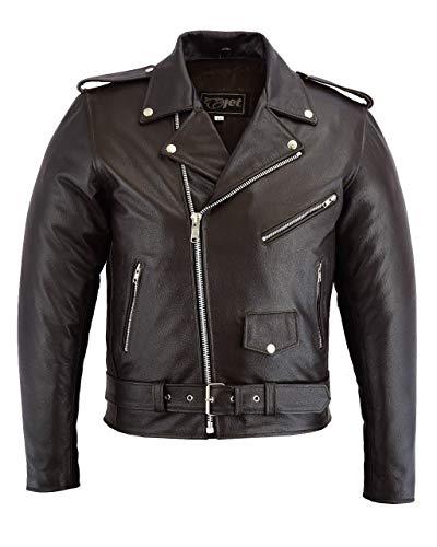 JET Motorradjacke, Herren, Leder, CE-gepanzert, Retro, Vintage, Iconic Brando, XL, Braun