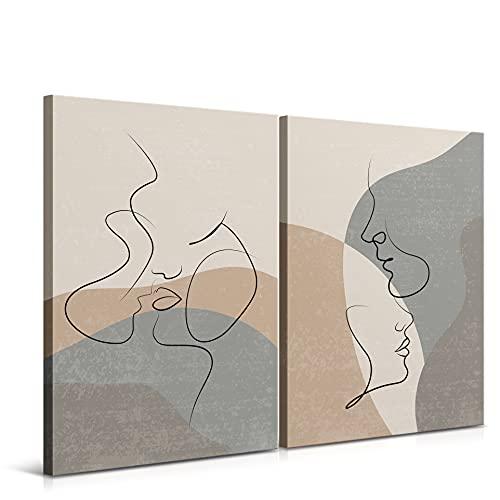 DON LETRA Juego de 2 Cuadros en Lienzo, Pareja Arte Abstracto, 60 x 40 x 2 cm (2 Piezas), Cuadros Modernos para Decoración de Salón y Dormitorio, 100% Políester, Bastidor de Madera, LEN-090