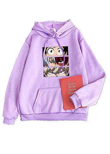 VERROL My Hero Academia Felpa Uomo Donna Felpa con Cappuccio con Maniche Lunghe Ragazza Anime Deku Katsuki Bakugou Cosplay Streetwear Pullover Maglione