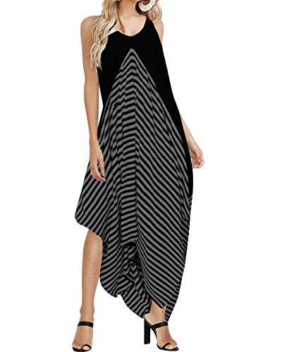 Style Dome Sommerkleid Damen Ärmellos Träger Asymmetrisch Strandkleid Sexy V-Ausschnitt Gestreift Grau-998448 2XL