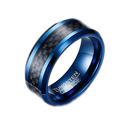 N-A Tungsten Men Ring with Carbon Fiber 8 mm Male Engagement Party Finger Ring Wedding Bands Dark Blue 8