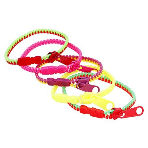 Bciou - Pulseras de la amistad con cremallera para niños, colores variados