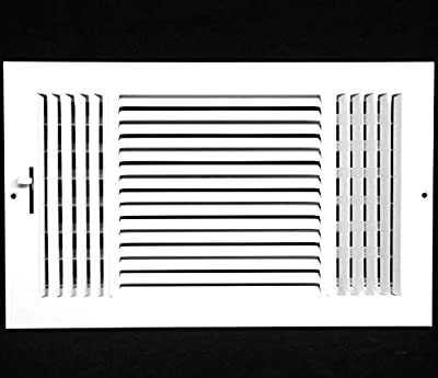 "20"" X 6"" 3-Way AIR Supply Grille - Vent Cover & Diffuser - Flat Stamped Face - White [Outer Dimensions: 21.75""w X 7.75""h]"