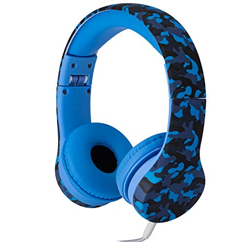 Snug Play+ Kids Headphones Volume Limiting and Audio Sharing Port (Blue Camo)