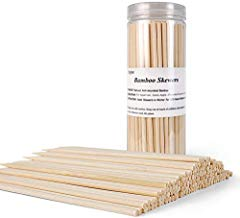180 Pcs Thick Sturdy Bamboo Skewers Caramel Candy Apple Sticks for Appetizers, Cocktails, Corn Dog, Corn Cob, Chocolate Fountain, Lollipop, Grill, Fruit, Kebab, Garden (6 1/4 Inch X 4mm)