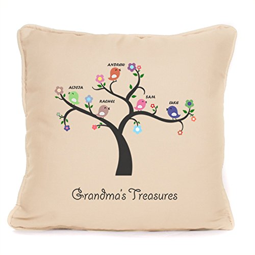 Personalised 'Grandma's Treasures ' Throw Pillow Cushion with Pad | Best Mother's Day, Birthday, Women's Day, Present Ideas For Grandma, Gran, Granny, Nan, Nanna | 18 x18 Inch