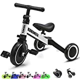 KORIMEFA 3 in 1 Kids Trike for 1 to 3 Years Old Toddler Kids Children Tricycles Baby Balance Bike Infant Trike for Boys Girls 3 Wheels Toddlers with Removable Pedals Adjustable Seat (White)