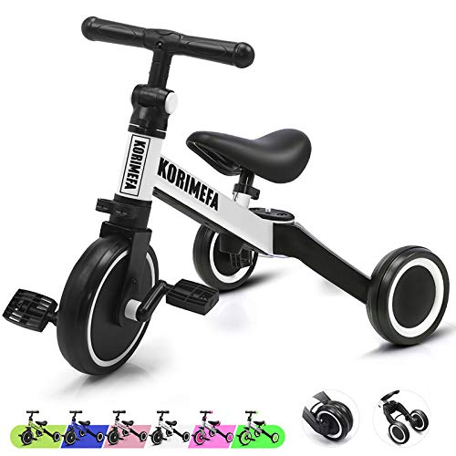 KORIMEFA 3 in 1 Kids Trike for Children 1-3 Years Old Kids Tricycle Boys Girls Baby Balance Bike 2 Wheels for Toddlers Tricycle with Removable Pedals (White)